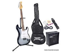 Pyle Beginner Electric Guitar Package- Grey Silver