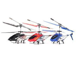 3 Channel Gyro Metal Helicopter Helizone RC Firebird Helicopter - 3 Color Bundle (Black, Red and Blue)