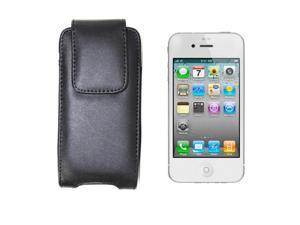 Black Leather Holster Case Cover with Belt Clip for Apple iPhone 5, LG Voyager, T-Mobile Sidekick 2008, Palm Centro Cellular ...