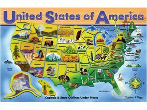Melissa & Doug: USA Map- Wooden Jigsaw Puzzle