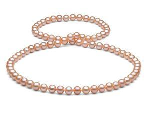 The Pearl Outlet White/Pink Freshwater Pearl Necklace, 7.5-8mm, AA+ Quality, 26""