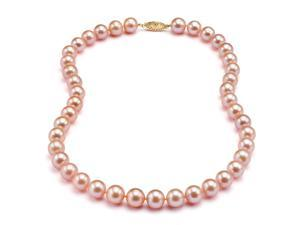 """Pink Freshwater 18"""" Pearl Necklace - 8mm, AAA, 14k"""