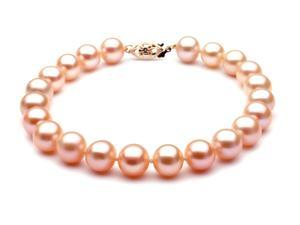 "The Pearl Outlet Pink Freshwater Pearl Bracelet - 7 1/2"", 8mm, AAA, 14k"