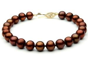 "The Pearl Outlet FBCHOC8AAA Chocolate Freshwater Pearl 7 1/2"" Bracelet - 8mm, AAA, 14k"