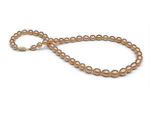 The Pearl Outlet Lustére Collection - Handpicked 5.5-8.5mm Iridescent Pink Pearls with Metallic Luster