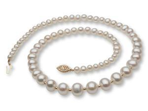 Graduated Pearl Necklace with 14k Gold Enhancers