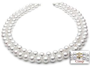 "Freshwater Pearl Necklace - Two-Strand 7-8mm AAA Quality 18"" 14k Gold Clasp"