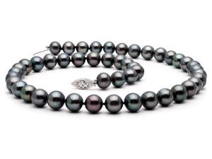 "The Pearl Outlet 18"" 7-8mm AAA Black Freshwater Pearl Necklace 14k White Gold Clasp"