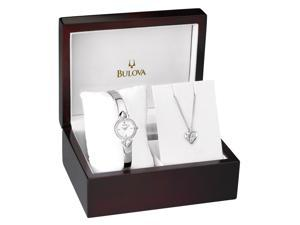 Bulova Silver Dial Crystal Pendant and Bangle Watch Set 96X111