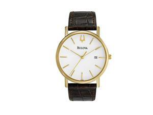 Bulova White Dial Gold-Tone Stainless Steel Mens Watch 97B100