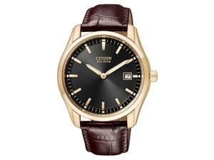 Citizen Eco-Drive Leather Strap Black Dial Men's watch #AU1043-00E