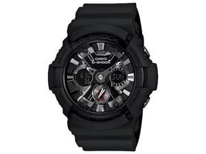 Casio GA201-1A Men's G-Shock Ana-Digi Alarm World Timer Black Resin Watch