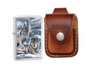 Zippo 28002 Mazzi Brushed Chrome Howling Wolves Windproof Pocket Lighter with Zi
