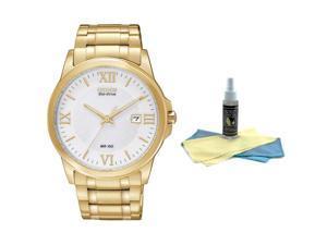 Citizen BM7262-57A Men's White Dial Gold Tone Stainless Steel Bracelet Watch wit