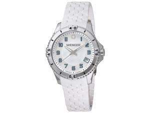 Wenger 0121.104 Women's Squadron Green Accent MOP White Dial White Rubber Strap