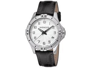 Wenger 0121.106 Women's Squadron White Dial Black Leather Strap Watch