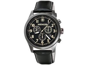 Wenger 0543.104 Men's Terragraph Black Dial Gunmetal IP Black Leather Strap Chro
