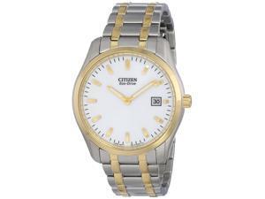 Citizen AU1044-58A Men's Eco-Drive Dress White Dial Two Tone Steel Watch