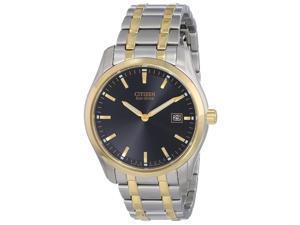 Citizen AU1044-58E Men's Eco-Drive Dress Black Dial Two Tone Steel Watch