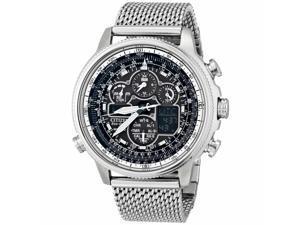 Citizen JY8030-83E Men's Navihawk A-T Black Ana-Digi Dial Chronograph Steel Mesh