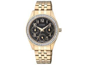 Citizen ED8132-55E Women's Crystal Bezel Black Dial Gold Plated Steel Bracelet W