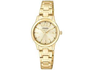 Citizen EL3032-53P Women's Small Gold Dial Gold Plated Steel Bracelet Watch