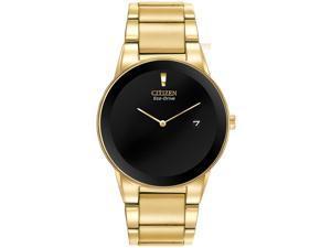 Citizen AU1062-56E Men's Axiom Eco-Drive Black Dial Gold Plated Steel Bracelet W