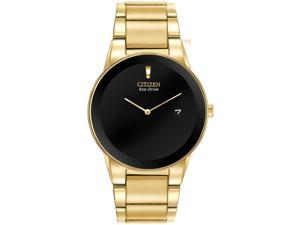 Citizen AU1062-56E Men's Axiom Eco-Drive Black Dial Gold Plated Steel Bracelet W