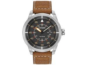 Citizen AW1361-10H Men's Avion Eco-Drive Charcoal Dial Brown Leather Strap Watch