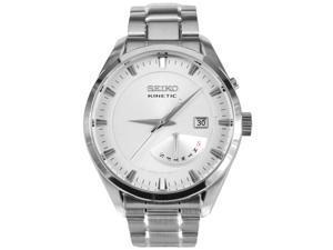 Seiko SRN043 Men's Classic Kinetic Silver Dial Stainless Steel Bracelet Watch