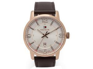 Tommy Hilfiger 1710346 Men's George Silver Dial Rose Gold Steel Brown Leather St