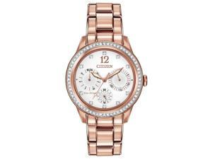 Citizen FD2013-50A Women's Eco-Drive Silhouette White Dial Rose Gold Steel Brace