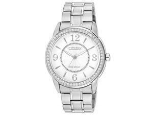Citizen FE7000-58A Women's Eco-Drive White Dial Steel Bracelet Crystal Watch