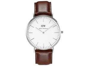 Daniel Wellington 0207DW Men's Classic St. Andrews White Dial Brown Leather Stra