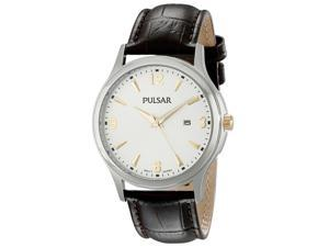Pulsar PH9073 Men's Traditional Silver Dial Brown Leather Strap Date Watch