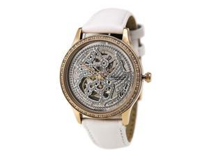 Kenneth Cole KC2885 Women's Automatic Crystal Accented Skeleton Dial White Leath