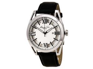 Kenneth Cole KC8072 Men's New York Classic Silver Dial Black Leather Strap Watch