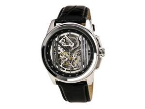 Kenneth Cole KC8100 Men's New York Automatic Silver Skeleton Dial Black Leather