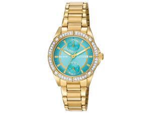 Citizen FD3002-51X Women's POV Turquoise Dial Yellow Gold Steel Bracelet Swarovs