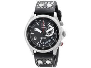 Fossil FS5042 Men's Recruiter Black Dial Black Leather Strap Multifunction Alarm