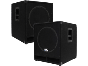 "Seismic Audio - Baby-Tremor_PW-PKG1 - Pair of Powered 15"" Pro Audio Subwoofer Cabinets - 300 Watts RMS - PA/DJ Stage, Studio, Live Sound Active 15 Inch Subwoofers"