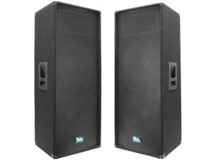 """Seismic Audio - Two Dual 15"""" PA/DJ Speaker Cabinets with Titanium Horns"""