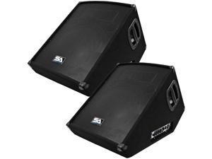 """Seismic Audio - SA-15MT-PW-Pair - Pair of Powered 2-Way 15"""" Floor / Stage Monitors Wedge Style with Titanium Horns - 350 Watts RMS - PA/DJ Stage, Studio, Live Sound Active 15 Inch Monitors"""