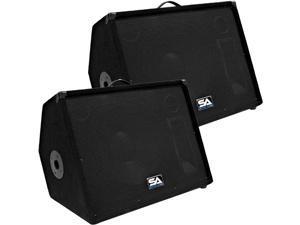 "Seismic Audio - PAIR of 15"" Stage/Floor Monitor Speaker Cabinets PA / DJ"