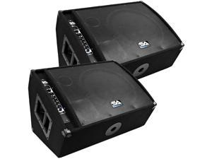"""Seismic Audio - FL-15MP-PW-Pair - Pair of Premium Powered 2-Way 15"""" Floor / Stage Monitors with Titanium Horns - 400 Watts RMS - PA/DJ Stage, Studio, Live Sound Active 15 Inch Monitors"""