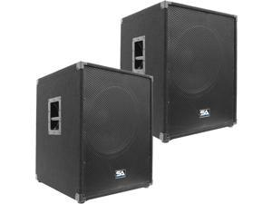 """Seismic Audio - Aftershock_18Pair - Pair of Powered PA 18"""" Subwoofer Speaker Cabinets"""