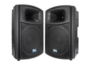 "Seismic Audio - PWS-15 (Pair) - 15"" POWERED SPEAKERS - 600 Watts RMS - PA/DJ"