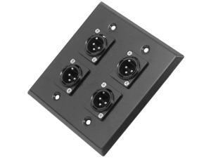 Seismic Audio - SA-PLATE4 - Black Stainless Steel Wall Plate - 2 Gang with 4 XLR Male Connectors - Cable Installation