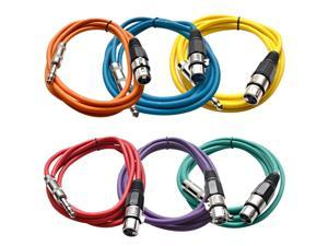 Seismic Audio - 6 Pack of Colored 6 foot XLR Female to TRS Male Patch Cables - Snake Microphone Cord