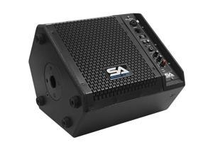 Seismic Audio - SAX-8M-PW - Powered Compact 8 Inch 2 Way Coaxial Floor / Stage Monitor with Titanium Horn - 150 Watts RMS - PA/DJ Stage, Studio, Live Sound Active 8 Inch Monitor